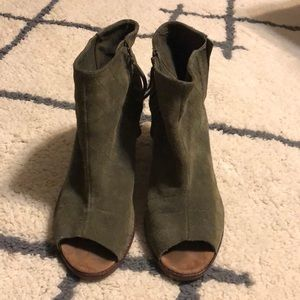 Olive green open toe booties